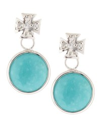 Elizabeth Showers Maltese Cross And Turquoise Dangle And Drop Earrings