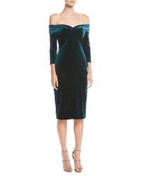 Theia Draped Off The Shoulder Stretch Velvet Cocktail Dress Peacock