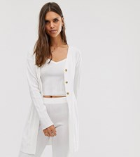Micha Lounge Cardigan In Wide Rib Knit Co White