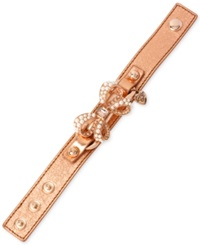 Betsey Johnson Rose Gold Tone Imitation Pearl And Crystal Faux Leather Snap Bracelet
