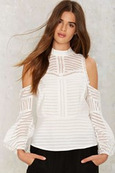 Dressed To The Lines Cold Shoulder Top White