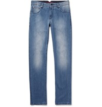 Isaia Slim Fit Washed Selvedge Stretch Denim Jeans Light Denim