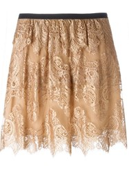 Burberry Prorsum Frayed Lace Overlay Skirt Nude And Neutrals