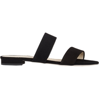 Barneys New York Suede Double Band Slides Black