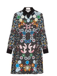 Peter Pilotto Ace Geometric Print Crepe Dress Black Multi