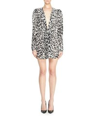 Saint Laurent Leopard Print Crepe De Chine Dress Black White Black White
