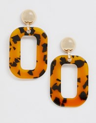 Monki Rectangular Drop Earrings In Tortoise Brown