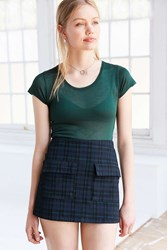 Bdg Tartan Scout A Line Mini Skirt Green