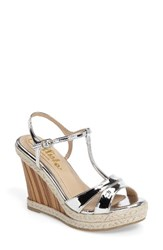 Callisto Women's Alinna T Strap Wedge Sandal Silver Faux Leather