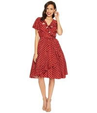Unique Vintage Sateen Ruffle Dotty Wrap Dress Red Ivory Dot Women's Dress
