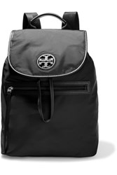 Tory Burch Faux Leather Trimmed Shell Backpack Black
