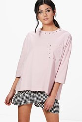 Boohoo Studded Oversized T Shirt Pink