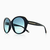 Tiffany And Co. Atlas Square Sunglasses In Black Acetate. Plastic