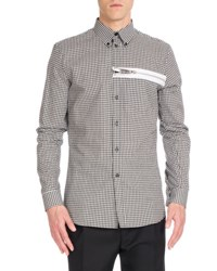 Givenchy Buffalo Check Sport Shirt With Zipper Black White