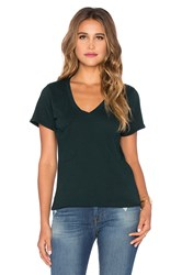 Bobi Light Weight Jersey Pocket V Neck Tee Green
