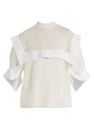 Chloe Striped Jacquard Silk Blend Blouse White Multi