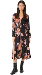 Free People Miranda Printed Midi Dress Black Combo