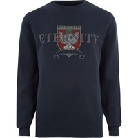 River Island Navy 'Eternity' Stud Printed Sweatshirt