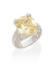 Judith Ripka La Petite Canary Crystal White Sapphire And Sterling Silver Ring Yellow