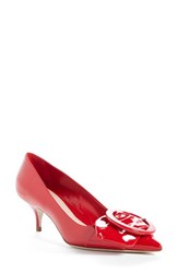 Miu Miu Women's Pointy Toe Buckle Pump Red Patent