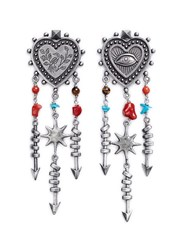 Valentino 'Santeria' Ethnic Heart Arrow Drop Earrings Metallic