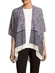 Lulla Collection By Bindya Printed Open Front Cape Purple
