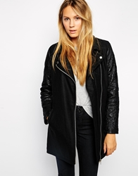 Brave Soul Wool Mix Biker Coat Black