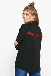 Boohoo Lucine Slogan Back Embroidered Woven Shirt Black