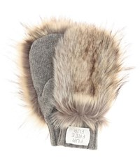 Stella Mccartney Faux Fur Trimmed Wool Mittens Grey