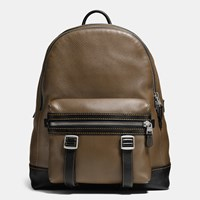 Coach Flag Backpack In Pebble Leather Military Black