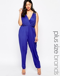 Little Mistress Plus Wrap Front Jumpsuit With Embellished Shoulder Detail Blue