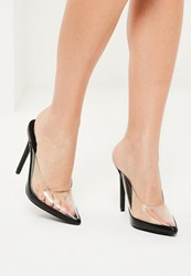Missguided Black Transparent Closed Toe Heeled Mules