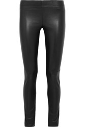 Joseph Leather Paneled Stretch Jersey Leggings Black