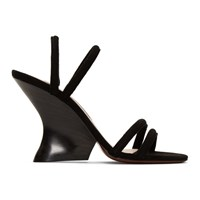Alexachung Black Suede Perfect Wedge Sandals