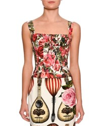 Dolce And Gabbana Floral Print Bustier Top Red White Red White