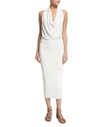 Urban Zen Sleeveless Jersey Cowl Neck Midi Dress Salt