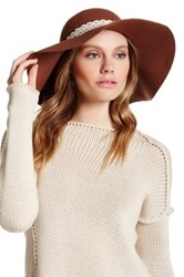 David And Young Wool Crochet Band Floppy Hat Brown