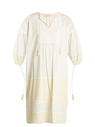 The Great Panel Tunic Tassel Trimmed Dress Ivory