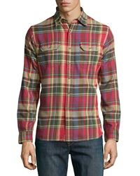 Tailor Vintage Madras Flannel Sport Shirt Gold Rush