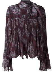 See By Chloe Paisley Print Scalloped Blouse Brown