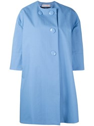 Marni Lightweight Button Coat Women Cotton Polyurethane 42 Blue
