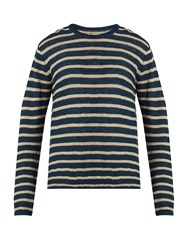 Oliver Spencer Seymour Striped Linen And Cotton Blend Sweater Navy Multi