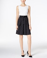 Charter Club Petite Dot Print Fit And Flare Dress Only At Macy's Cloud Combo
