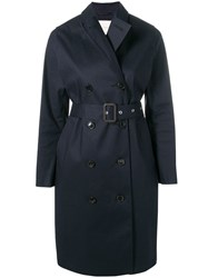 Mackintosh Navy Bonded Cotton Trench Coat Blue
