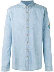 Balmain Stone Encrusted Casual Shirt Blue