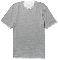 Brunello Cucinelli Slim Fit Layered Trim Cotton Jersey T Shirt Gray