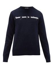 Valentino Embroidered Virgin Wool Sweater Navy