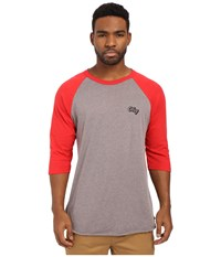 Obey Oranje Script Raglan Top Heather Charcoal Red Men's Long Sleeve Pullover Black