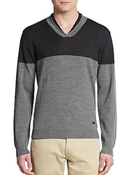 Armani Collezioni Colorblock V Neck Sweater Grey