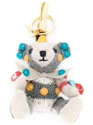 Burberry Teddy Bear Keyring Women Leather Polyester Cashmere One Size Grey